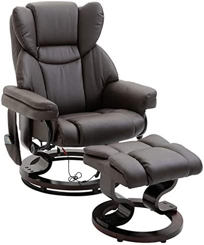 HOMCOM Massage Recliner Chair with Footrest, 10 Vibration Levels, Faux Leather, Brown