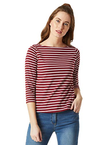 Miss Chase Women's Maroon   White Boat Neck 3/4th Sleeves Regular Basic Cotton Striped Top