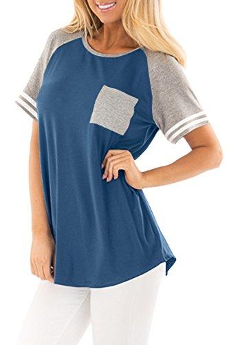 Summer Women Cotton Color Block Baseball Raglan Shirt Short Sleeve Pocket Casual Top Blue and Grey S