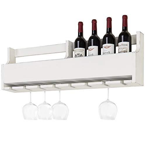 (MyGift Wall-Mounted Vintage White Wood 8-Bottle Wine & Stemware Display Rack)