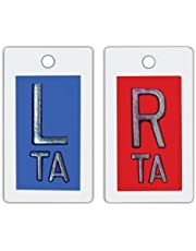 X-Ray Markers, Polystyrene, Personalized with 2-3 Initials, Vertical, Blue & Red, Left & Right Set