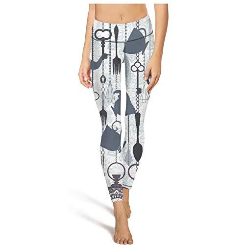 Hamily Broderei Women's Yoga Leggings Vintage hot Tea time Theme Exercise Workout Pants Gym -