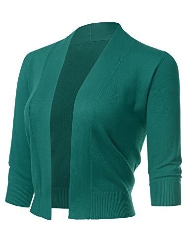 ARC Studio Women's Classic 3/4 Sleeve Open Front Cropped Cardigans (S-XL) M Dark Green