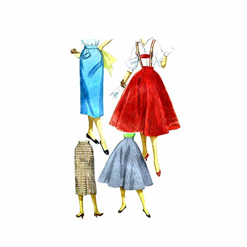 1950s Slim or Flared Skirt with Suspenders Simplicity 1281 Vintage Sewing Pattern Check Offers for Size