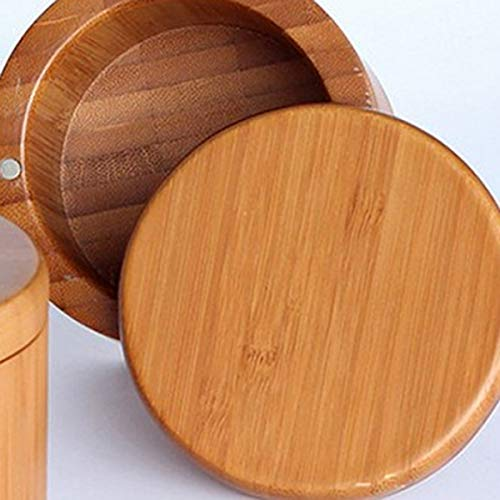 Sal Grabada En La Tapa Grabada Nrpfell Caja De Sal Caja De Almacenamiento De Bamb/ú con Tapa Giratoria Magn/ética Sal
