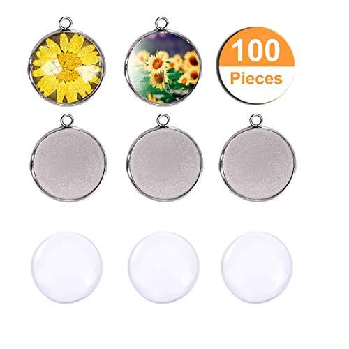 LANBEIDE 50 PCS Stainless Steel Round Bezel Pendant Trays Blanks, with 50 PCS Clear Dome Tiles for Photo Craft Jewelry Making16x16mm (Total 100 Pcs) ()