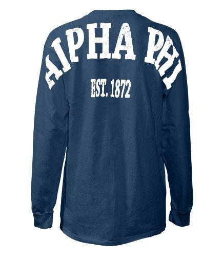Fashion Greek Alpha Phi Stadium Shirt Navy Small