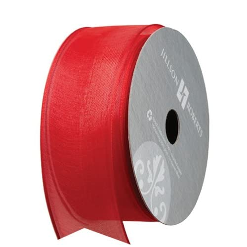 Jillson Roberts 1-1/2 Inch Wire Edge Sheer Ribbon Available in 5 Colors, Red, 6-Count (FR3809)
