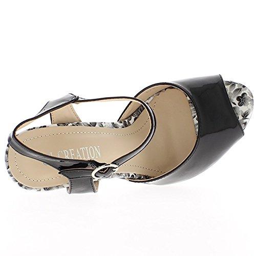 Barnizada en sandalias de tacón negro 11cm
