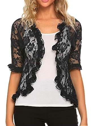 ELESOL Ladies Sexy Lace Crochet Bolero Shrug Ruffle Sleeve Open Cardigan Crop Top Black/S