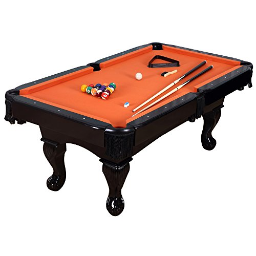 Harvil 84 Inches Black Billiard Pool Table with Complete Accessories - Orange Felt Cue Heavy Duty Round Rack