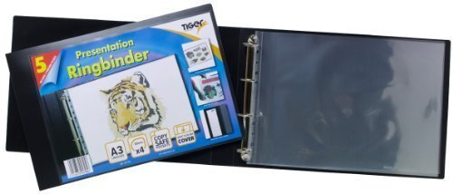 2 X Tiger A3 deluxe landscape 4-D ring binder folder file art black presentation portfolio + 5 sleeves Protectafile