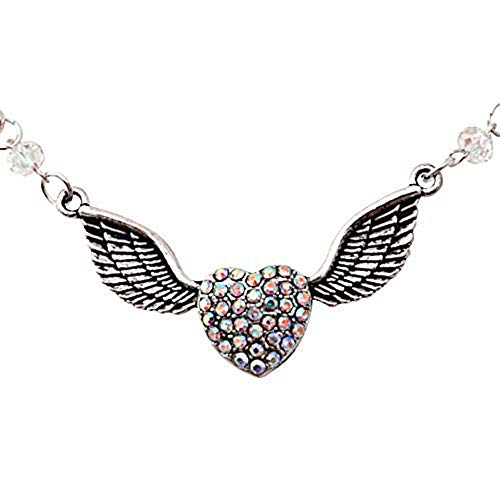 Running With Scissors Soaring Love Winged Heart AB Crystal Charm Necklace