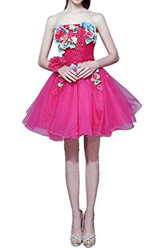 Cocktailkleider Blumen Ivydressing Suess Partykleid Abendkleider Pink Damen Kurz Traegerlos Schnuerung Abibllkleider a4qwTYa