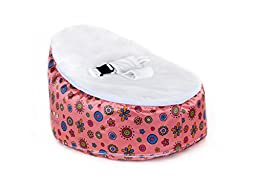 Totlings Snugglish Blossoms Velvet Top Baby Lounger, Pink with White
