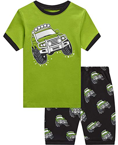 Dolphin&Fish Boys Pajamas Car Summer Short Set 100% Cotton Toddler Pjs Clothes Kids Sleepwear 4t