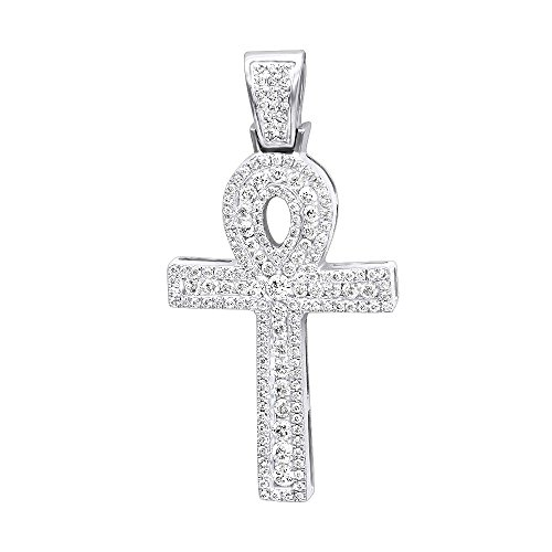 14K Gold Unique Diamond Cross Pendant Egyptian Ankh Symbol of Life 1ctw (White Gold)