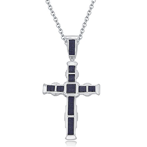 luxrygold His Her Blue Sapphire Sim Diamond Micro Pave Cross Pendant With 18