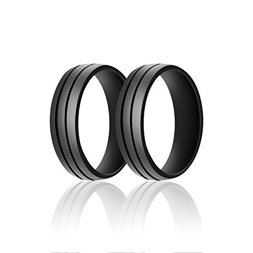 SANXIULY Mens Silicone Wedding Ring&Rubber Wedding Bands for Workout and Active Athletes Width 8mm Pack of 2 Color Black Size 8 (Diamond Hammered Wedding Band)