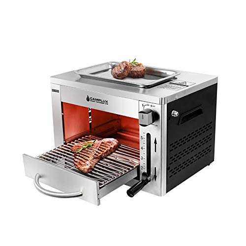 Camplux Propane Infrared Steak Grill,1600℉ Fast Efficient Heating Outdoor Portable Gas Grill with Vertical Cooking,Stainless Steel Single Burner Propane Gas Grill,Perfect for Steak,Ribeyes,Picnic,BBQ