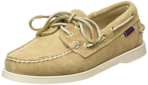(Sebago Women's Docksides Sand Suede Casual Leather Shoes, 8.5 W Brown)