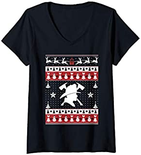 [Featured] Womens Firefighter Ugly Christmas Sweater Xmas T - Firefighter V-Neck in ALL styles | Size S - 5XL