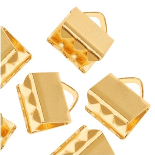 Gold Plated Ribbon Pinch Crimps Cord Ends 6 x 5mm (Off Gold Plated)