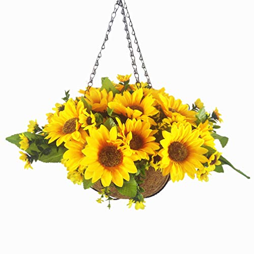 Mynse Set of Artificial Sunflowers Hanging Coco Basket with Chain for Balcony Home Decoration, Orange (Big Basket and Artificial Flowers) (Basket Flower Orange)