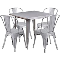 Flash Furniture 31.5 Square Silver Metal Indoor-Outdoor Table Set with 4 Stack Chairs