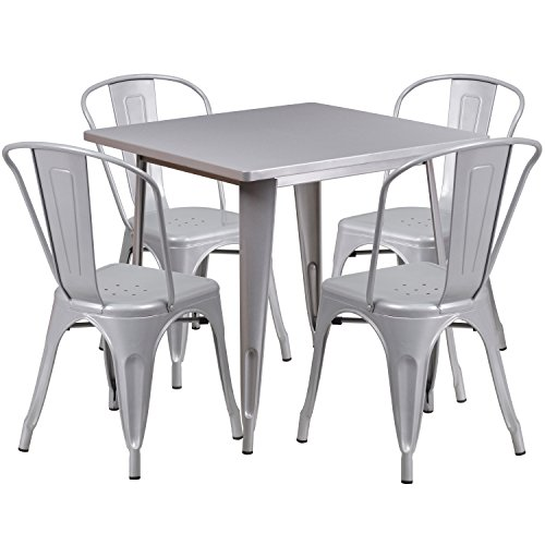 (Flash Furniture 31.5'' Square Silver Metal Indoor-Outdoor Table Set with 4 Stack)
