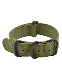 ArtStyle Watch Band with Thick Nylon Material Strap and High-End Black Buckle (Matte Finish) (20mm, Armygreen)