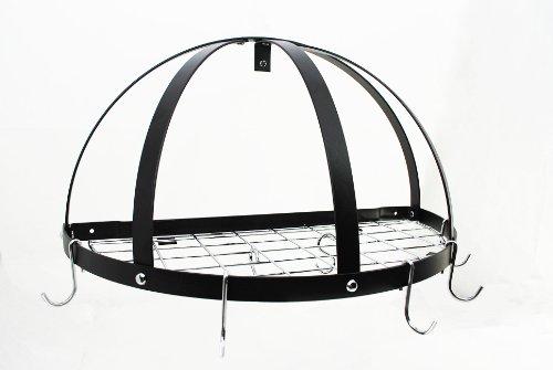 Half Dome Pot Rack w Grid in Black w Chrome Hooks - Pot Rack Dome