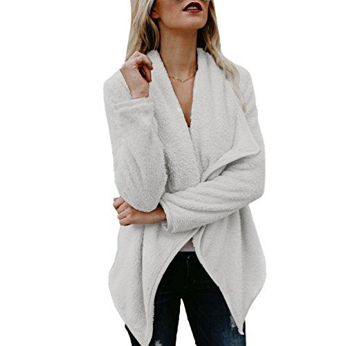 WanYang Mujeres Fleece Chaqueta Cardigan de Abrigo Largo Chaqueta Sudaderas Parka Outwear Cárdigan Capa Gris claro