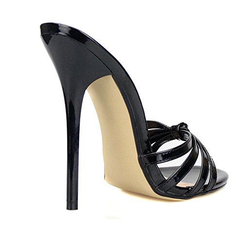 Del Scivolare Estate Nero Piede Sandali Black Tacco EUR42 Alto Scarpe Pantofole Dito 40 Rosso Festa Vestito 49 Taglia Sbirciare Sandalo Su UK10 Donna Stiletto xvq6FwYw