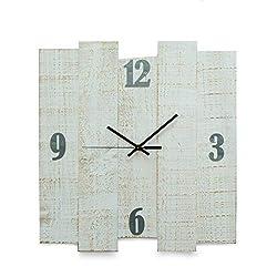 Bey-Berk White Distressed Wood Wall Clock Size 16x17