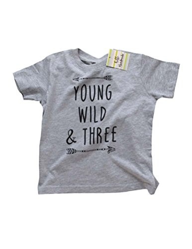 Hello Handmade Young Wild  Three – Fun Toddler 3rd Third Birthday Soft Tee Shirt Unisex (3T, Heather Grey)