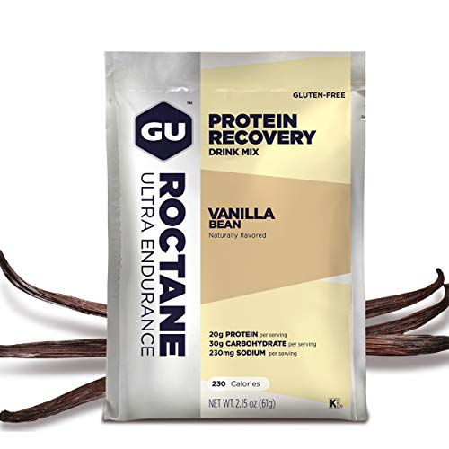 GU Energy Roctane Ultra Endurance Protein Recovery Drink Mix, Vanilla Bean, 10 Packets ()