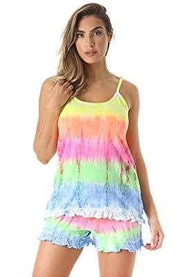 Just Love Tie Dye Pajama Short Set With Ruffle Detail