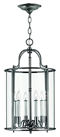 Hinkley 3478PW Traditional Six Light Foyer from Gentry collection in Pwt, Nckl, B/S, Slvr.finish,