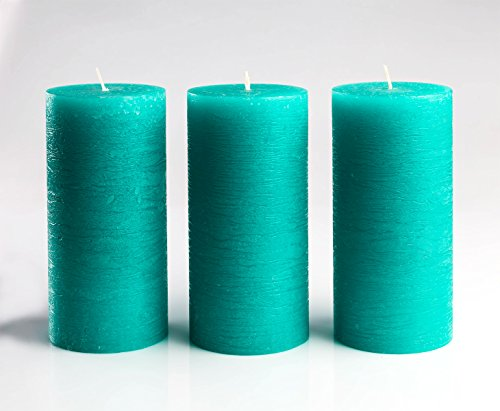 Turquoise/Teal Unscented Pillar Candles 3 x 6 Inch Set of 3 Fragrance-Free for Weddings, Decoration, - http://coolthings.us