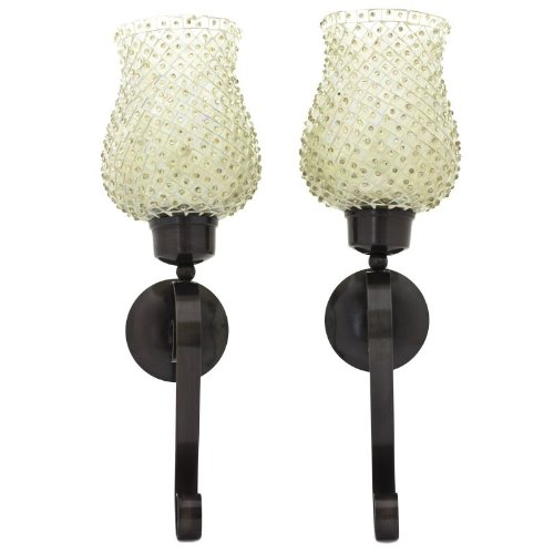 Essential Décor Entrada Collection 2-Piece Wall Sconce Set with Beaded Mosaic Glass, 5 by 4.5 by 16.5-Inch