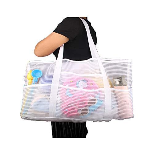 Mesh X-Large Tank Beach Bag,White Reusable Shopping Bag,Grocery Picnic Pool