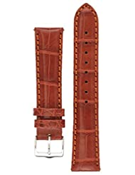 Signature Dundee in wood 22 mm watch band. Replacement watch strap. Genuine Alligator Leather. Silver buckle