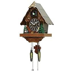 Sinix SN602A Handcrafted Antique Wooden Cuckoo Pendulum Wall Clock, Brown