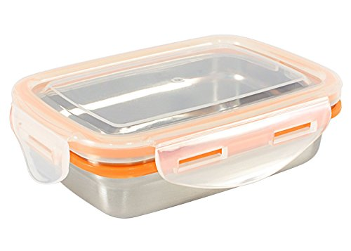 Mighty Hippo RECTANGLE Stainless Steel Food Container (Size: SMALL) - Perfect For Snacks (Leak Proof/Dishwasher Safe/Reusable/Food Safe/Metal/BPA Free) by Mighty Hippo