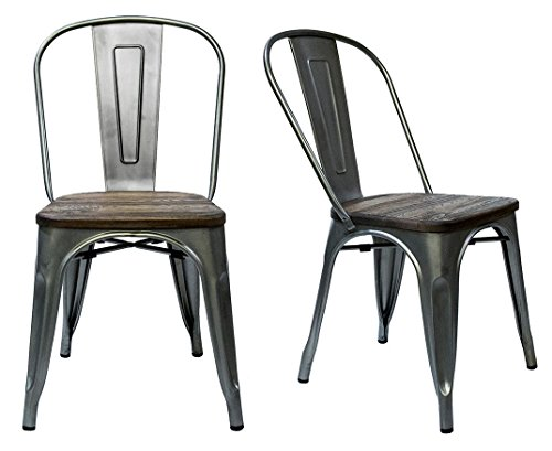Steampunk Tolix Replica Chairs (Set of 2) (Side Chair, Gunmetal/Wood)