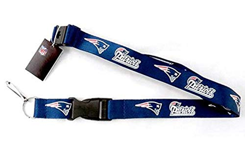 Genuine Authentic Licensed Football Sports Colored Lanyard with Logo and Team Name with Clip (Patriots- Navy)