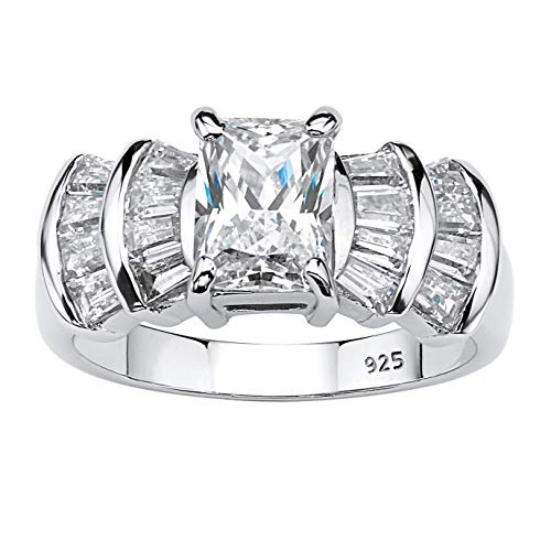 Platinum over Sterling Silver Emerald Cut Cubic Zirconia Step Top Engagement Ring Size 8
