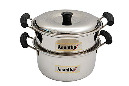 Anantha Stainless Steel 2 Tier Multi Purpose Steamer  2 Separate Tiers , Silver