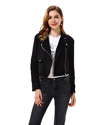 Black Leather Jacket Suede Coat (Apperloth Women's Solid Long Sleeve Faux Suede Zipper Short Coat Jacket)